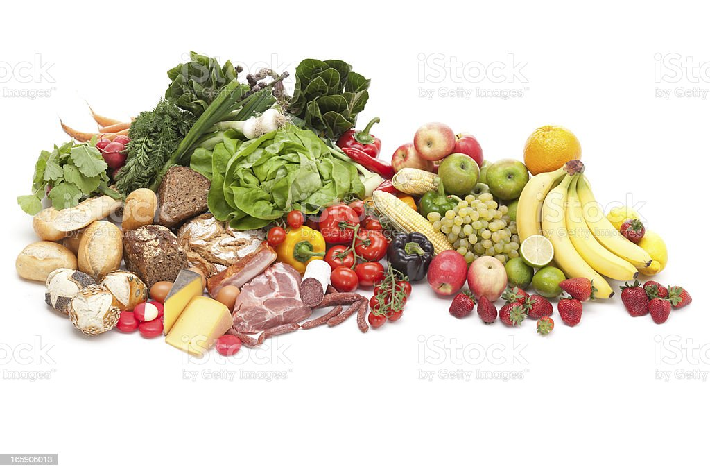 fresh and healthy food on white royalty-free stock photo