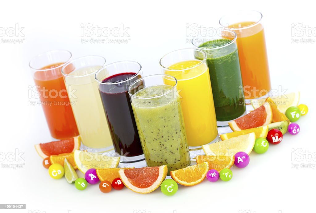 Fresh and healthy fruit and vegetable juices royalty-free stock photo