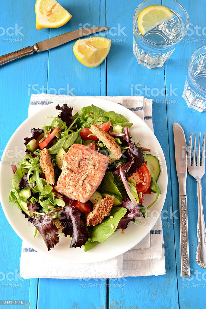 Fresh and Healthy Salmon Salad, top view stock photo