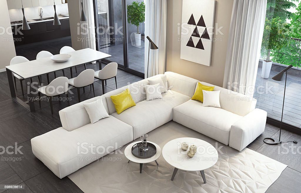 Fresh and modern white style living room interior stock photo