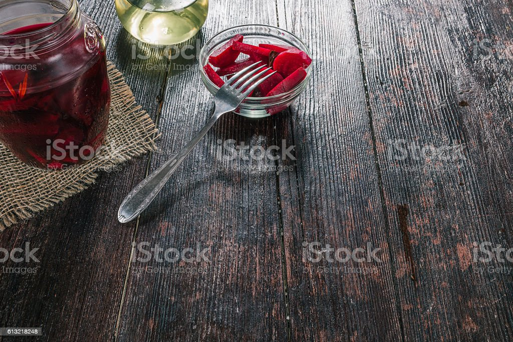 Fresh and pickled beetroot stock photo