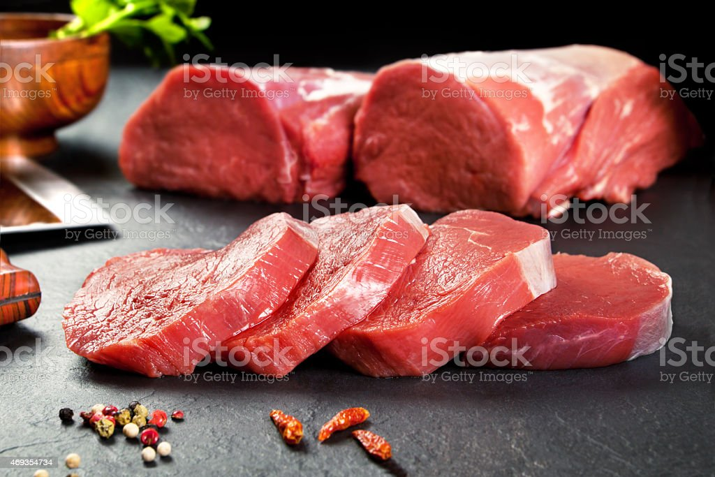 Fresh and raw meat. Sirloin medallions steaks stock photo
