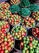 Fresh and ripe tomatoes and okra