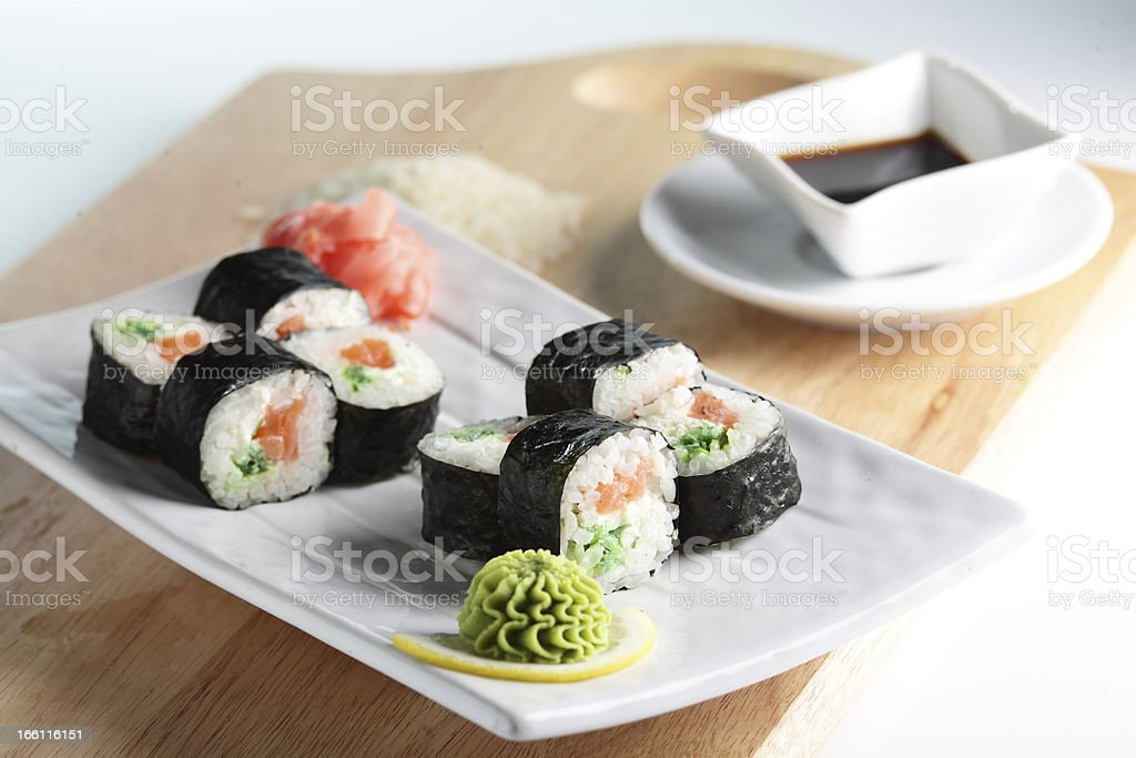 Fresh and tasty sushi royalty-free stock photo