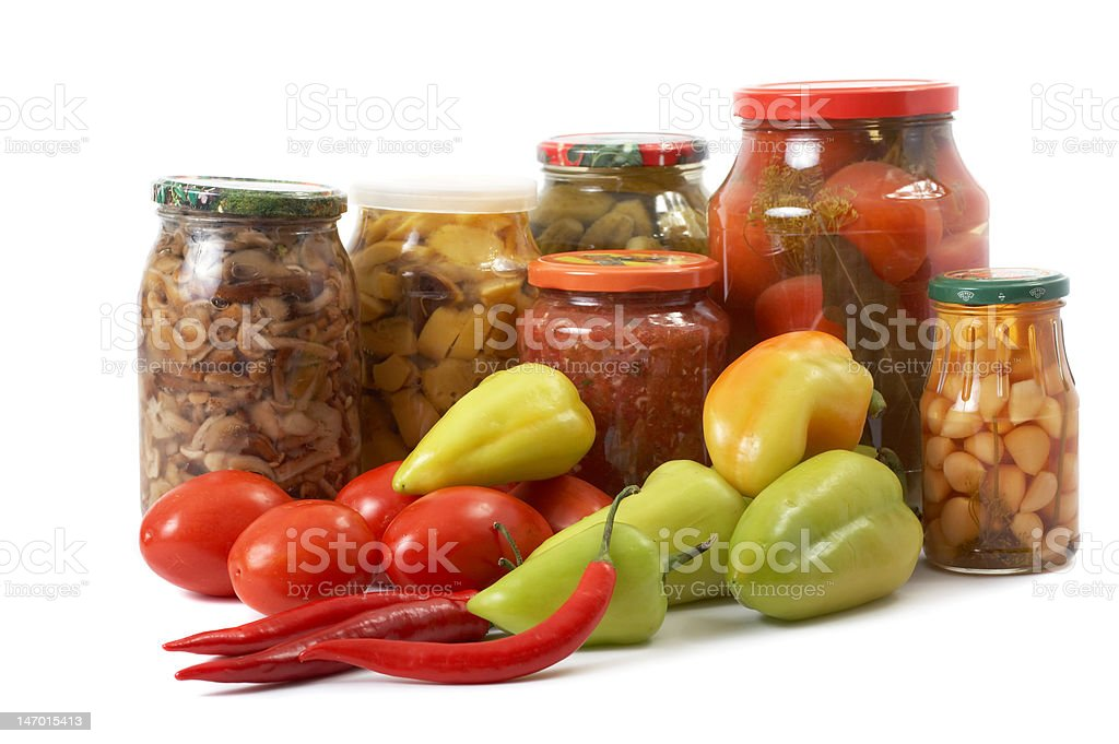 Fresh and tinned vegetables royalty-free stock photo