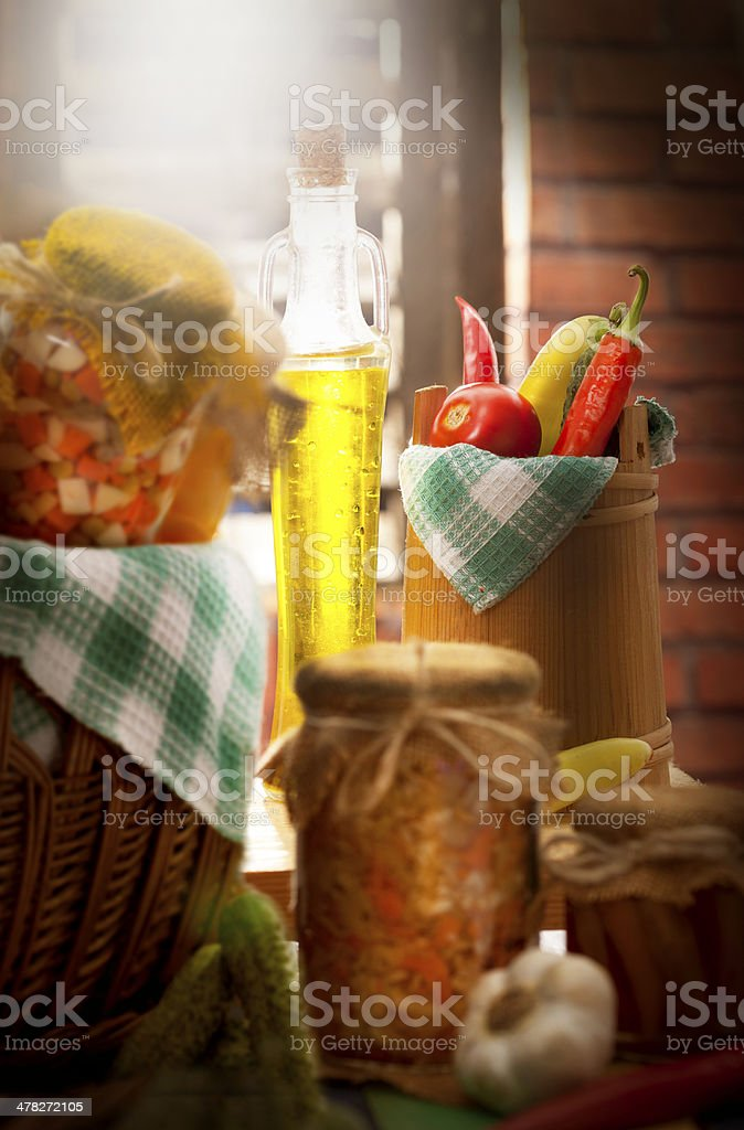 Fresh and tinned vegetables stock photo