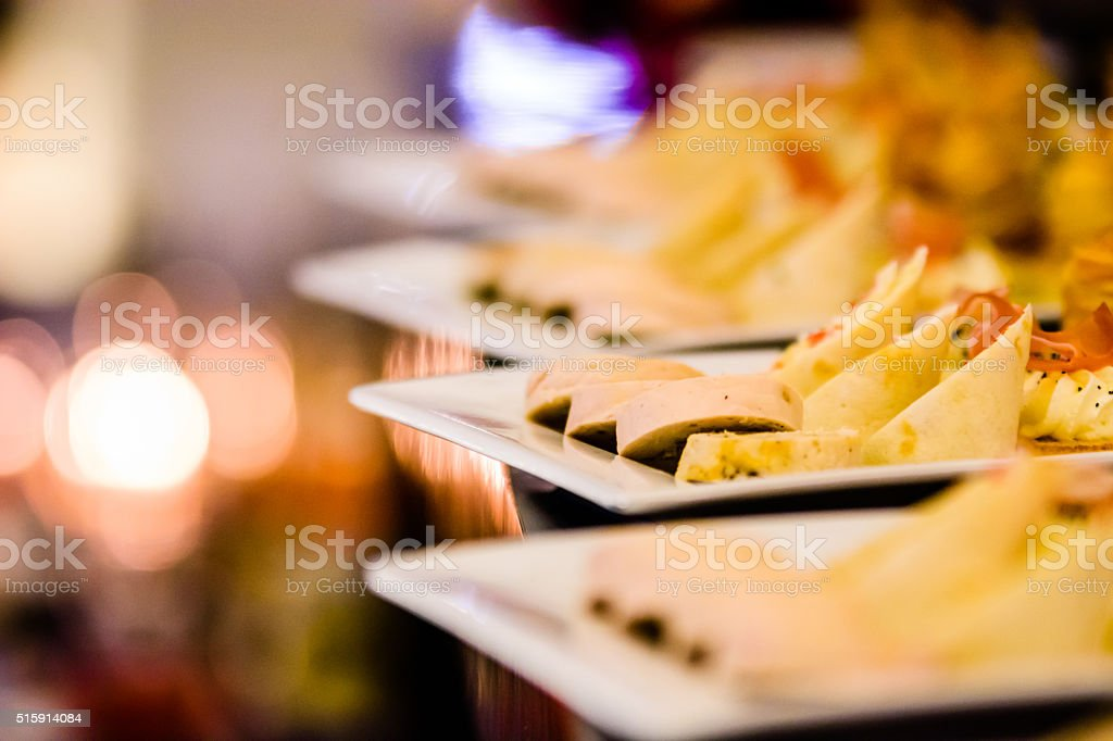 Fresh aperitives on a white plate stock photo