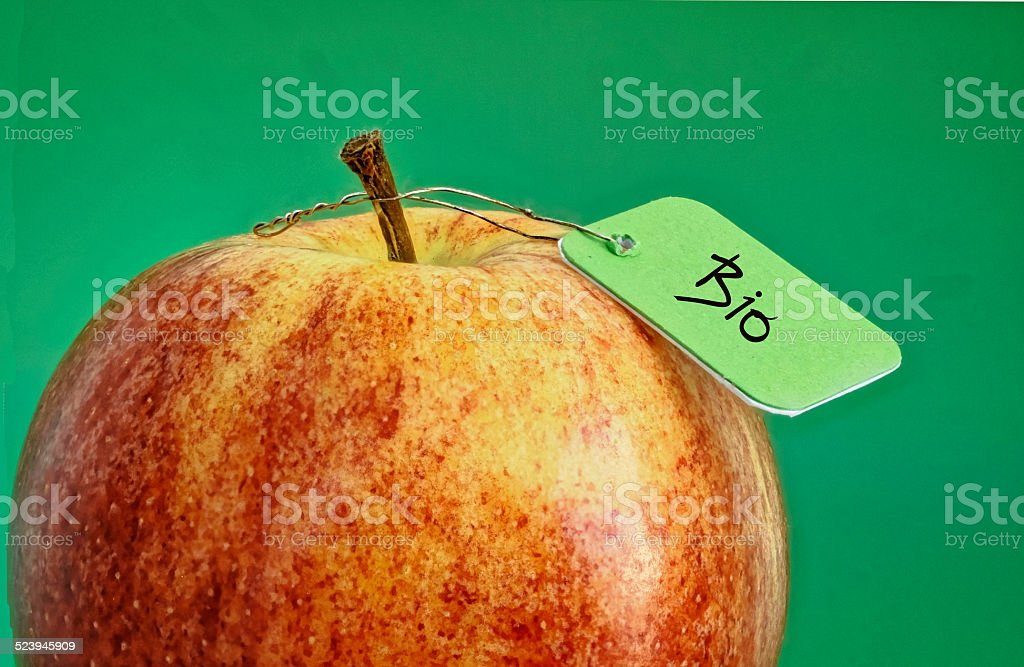 fresh apple with label Bio stock photo