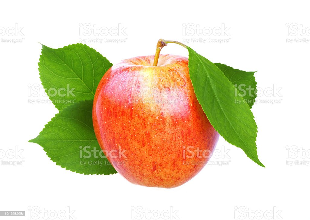 Fresh apple with leaf stock photo