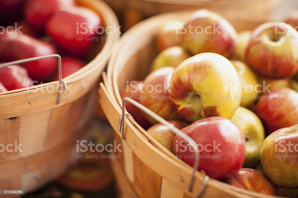 Fresh Apples in Basket stock photo