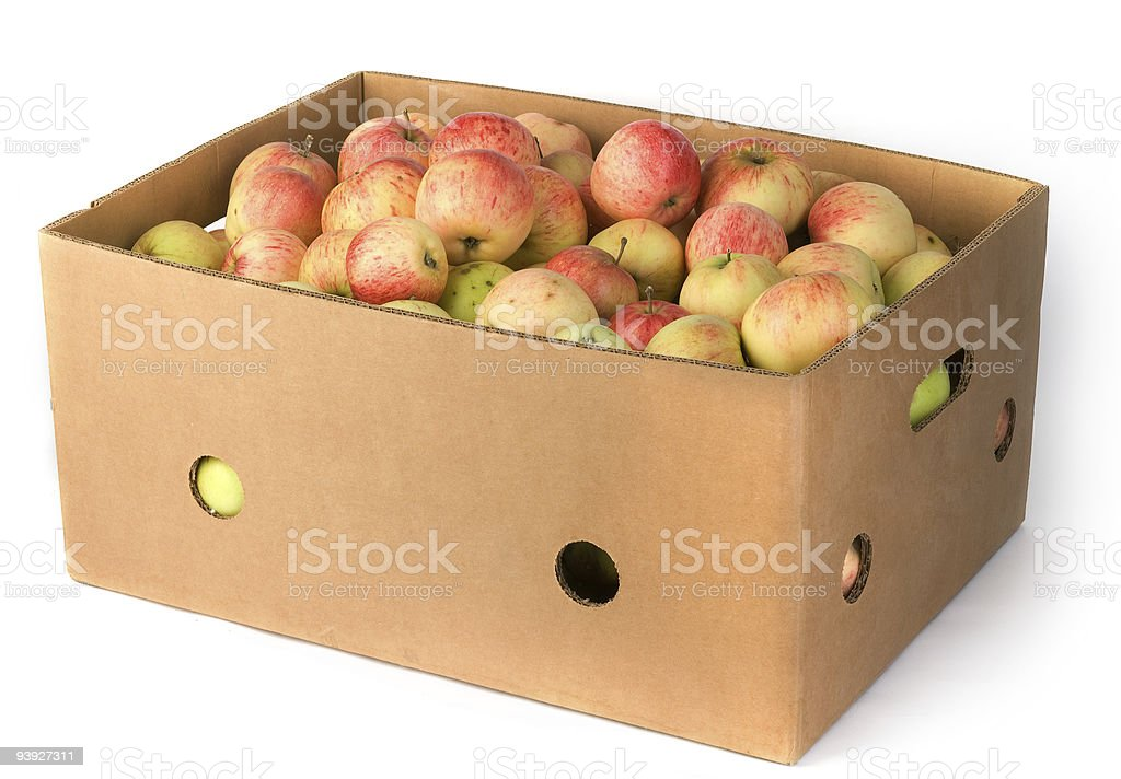 Fresh apples in carton container royalty-free stock photo
