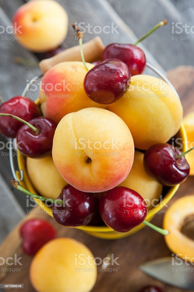 Fresh apricot and cherry in a bucket royalty-free stock photo