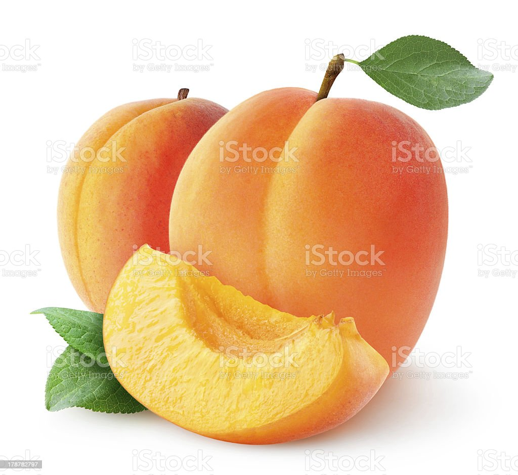 Fresh apricots isolated on white stock photo