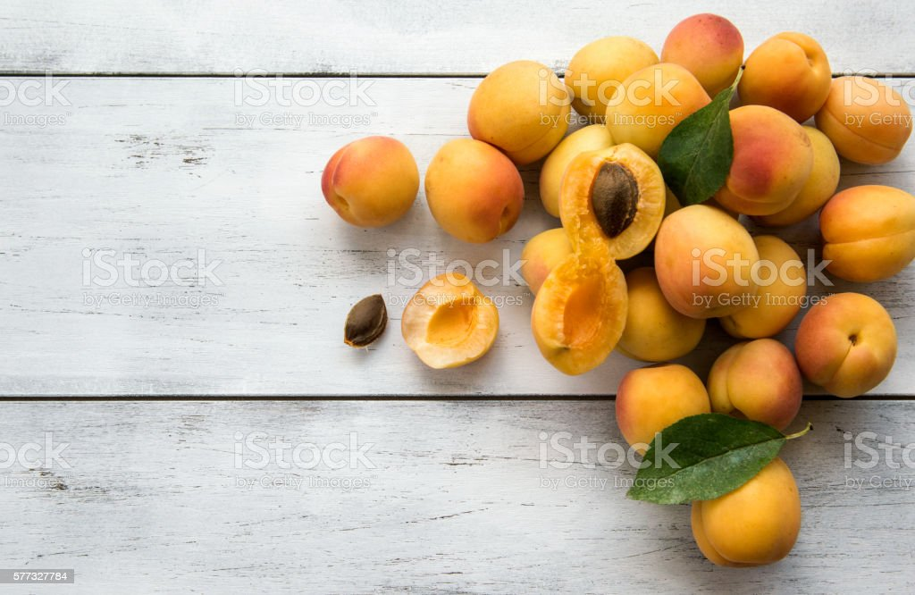 Fresh apricots stock photo