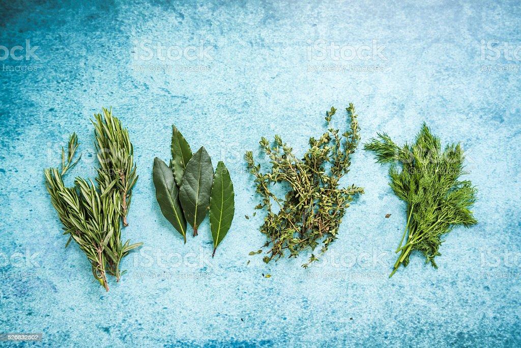 Fresh aramatic herbs,copy space stock photo