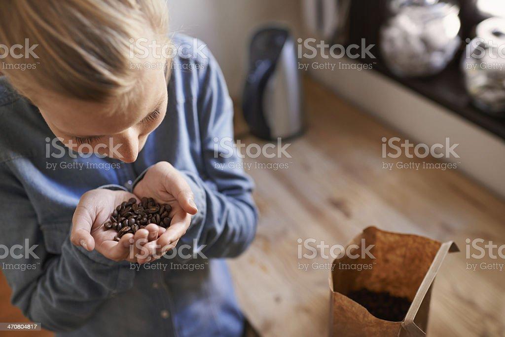 Fresh aroma of coffee beans stock photo