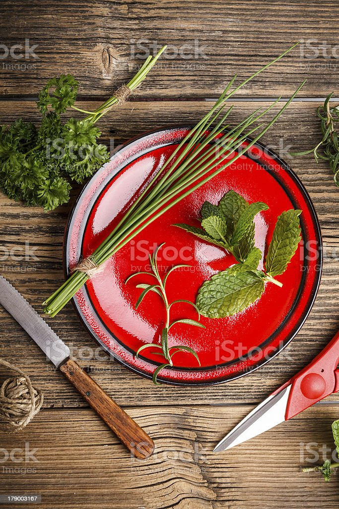 Fresh aromatic herbs royalty-free stock photo