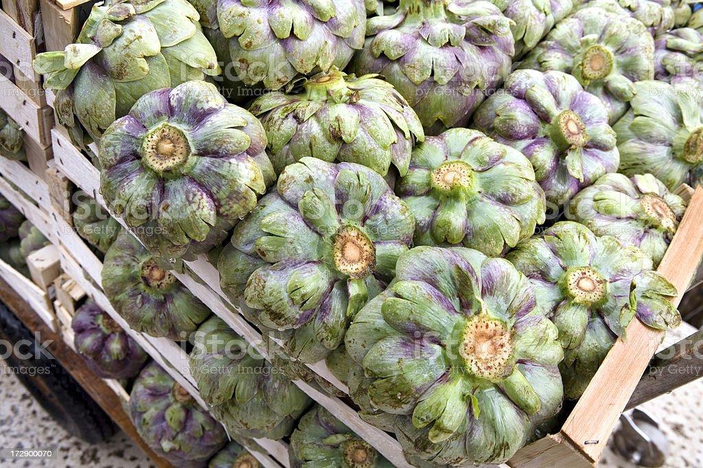 Fresh Artichokes in Venice Italy Market royalty-free stock photo