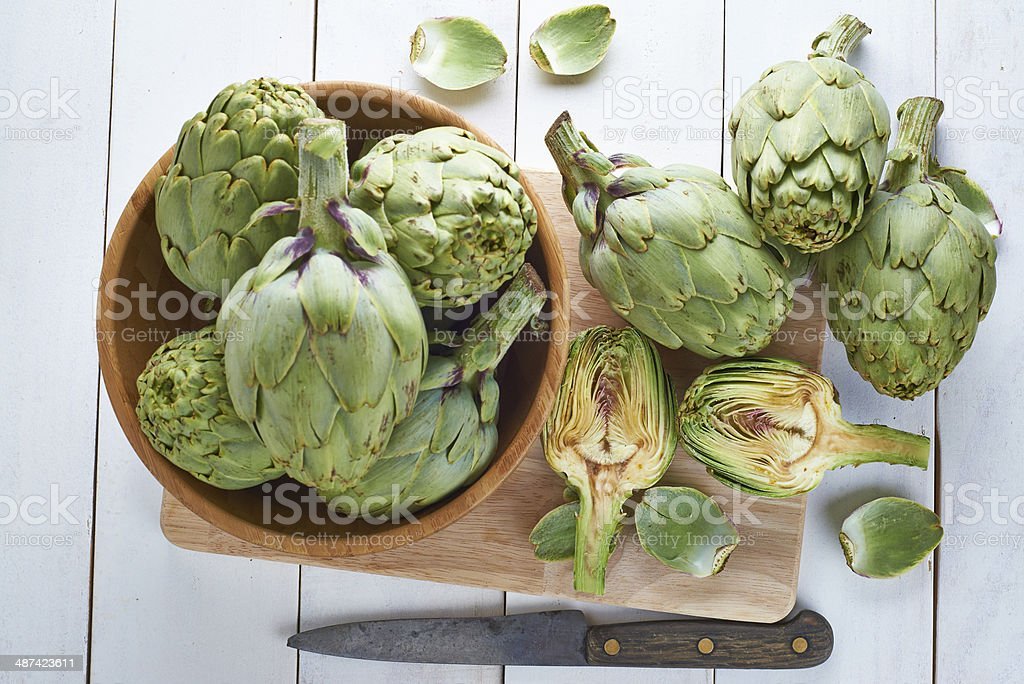 Fresh artichokes to cook stock photo