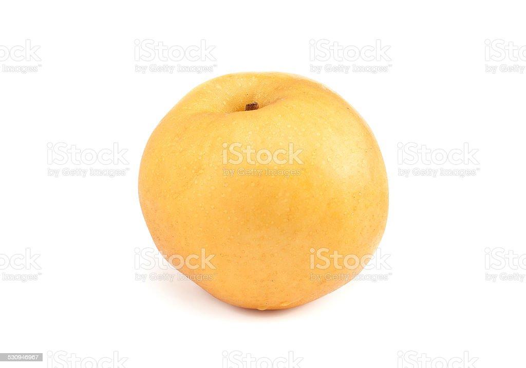 Fresh Asian pear isolated on white background stock photo