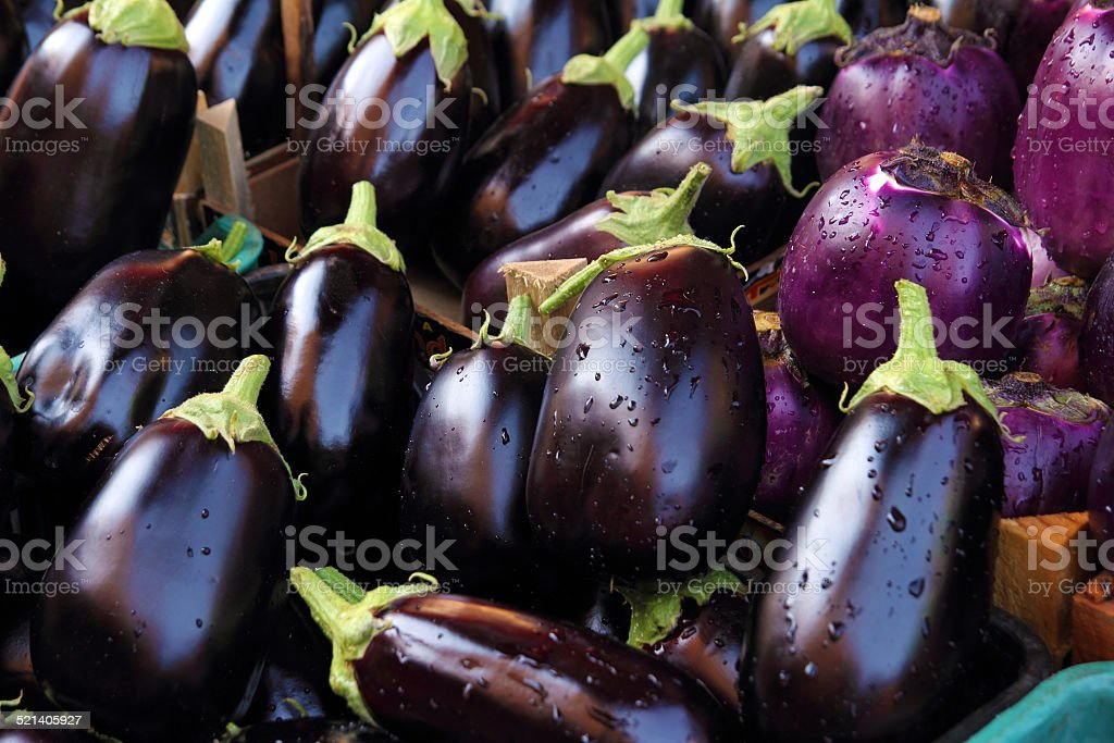 fresh aubergines stock photo