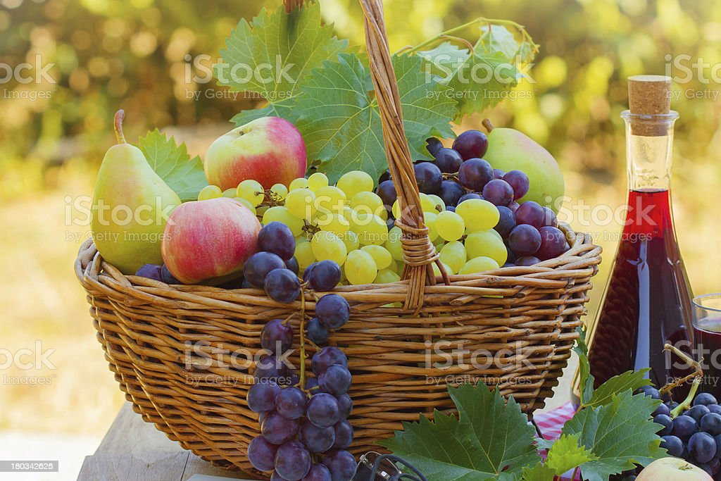 Fresh autumn fruits and red wine royalty-free stock photo