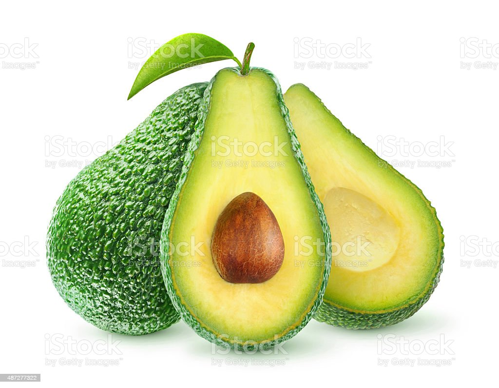 Fresh avocado fruits isolated on white, with clipping path stock photo