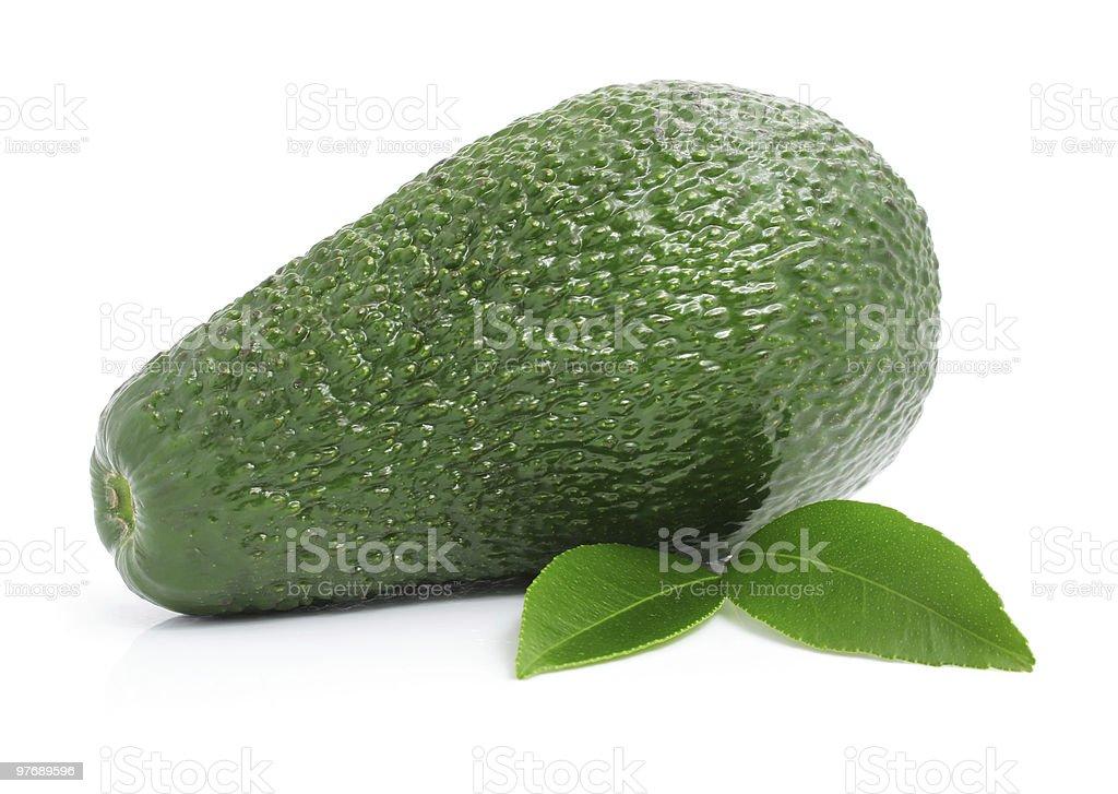fresh avocado fruits with leaf isolated on white stock photo