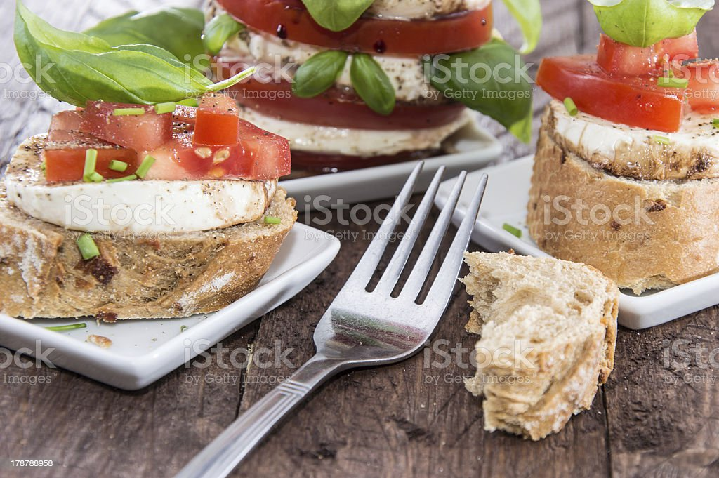 Fresh Baguette with Tomato and Mozzarella royalty-free stock photo