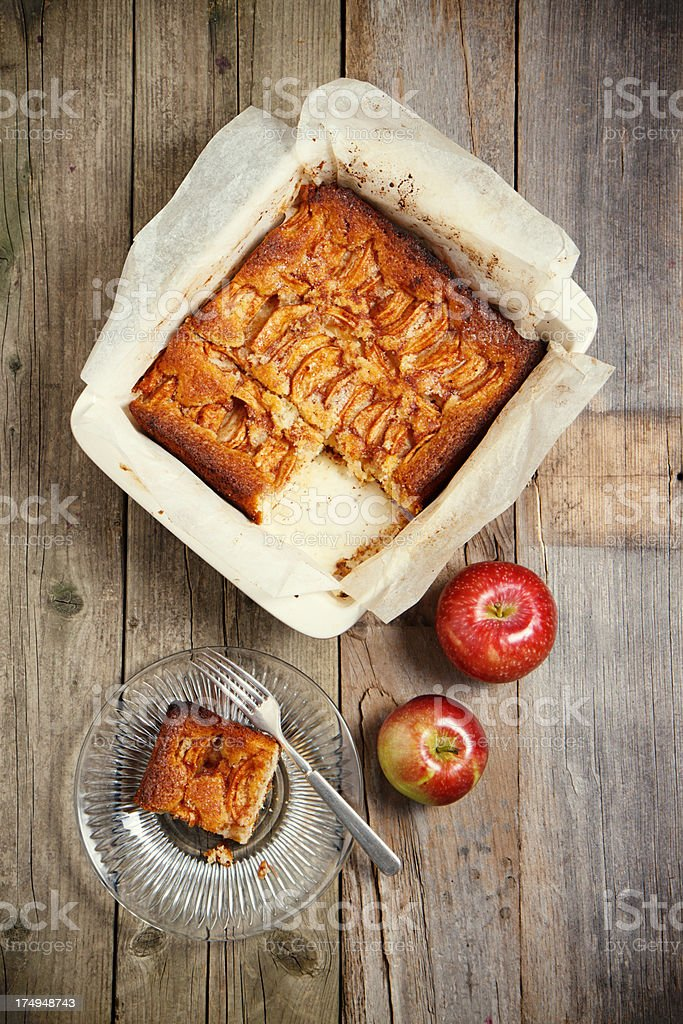 Fresh Baked Apple Cake From Above stock photo