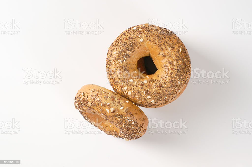 Fresh baked bagels stock photo