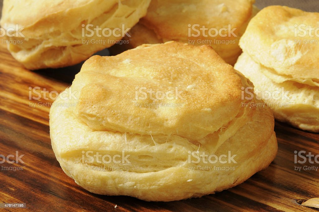 Fresh baked biscuit stock photo