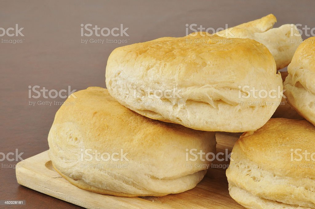 Fresh baked biscuits stock photo