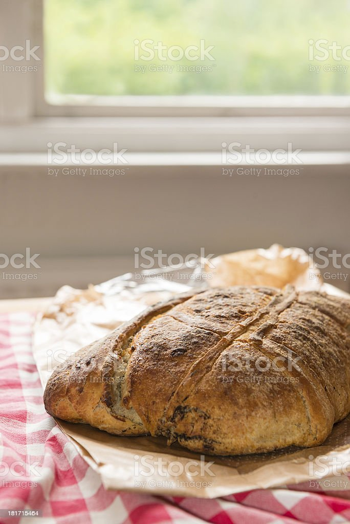 Fresh baked bread in kitchen royalty-free stock photo