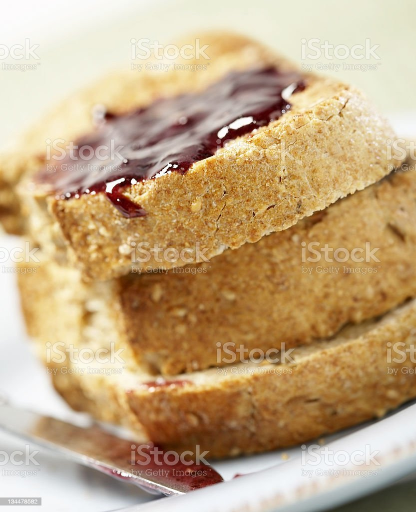 Fresh Baked Bread with Strawberry Jam royalty-free stock photo