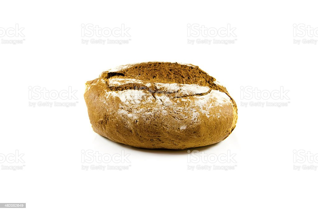 Fresh Baked Brown Bread on white background stock photo