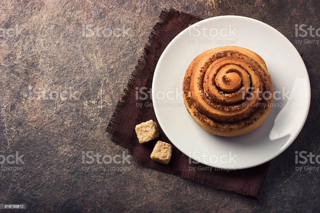 fresh baked cinnamon buns stock photo