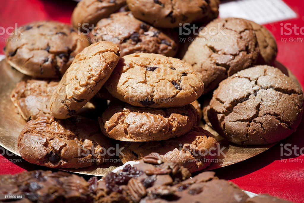 Fresh baked cookies, brownies at charity fundraiser bake sale stock photo