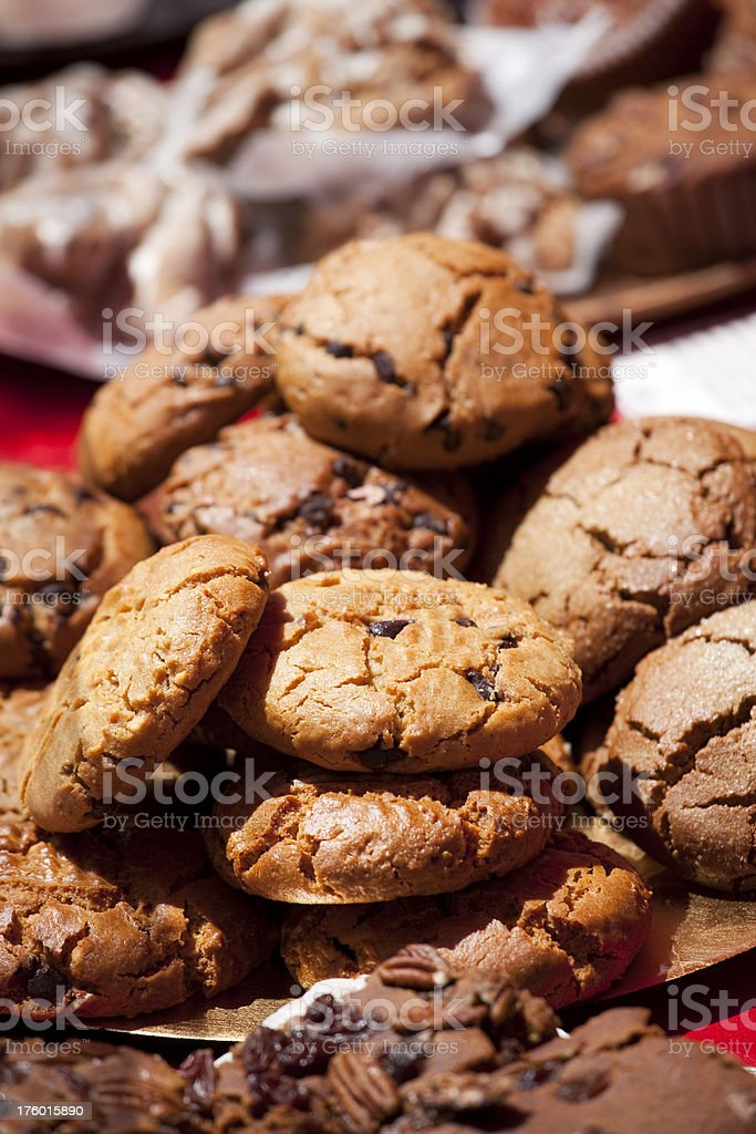 Fresh baked cookies, brownies at charity fundraiser bake sale royalty-free stock photo