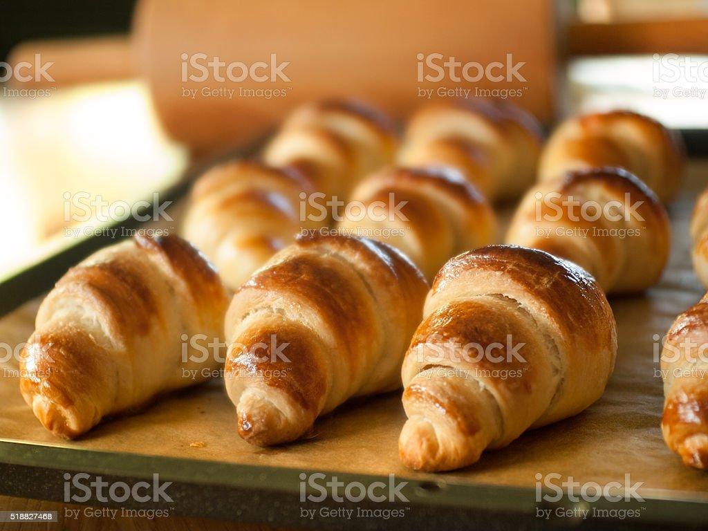Fresh baked croissants on baking sheet stock photo