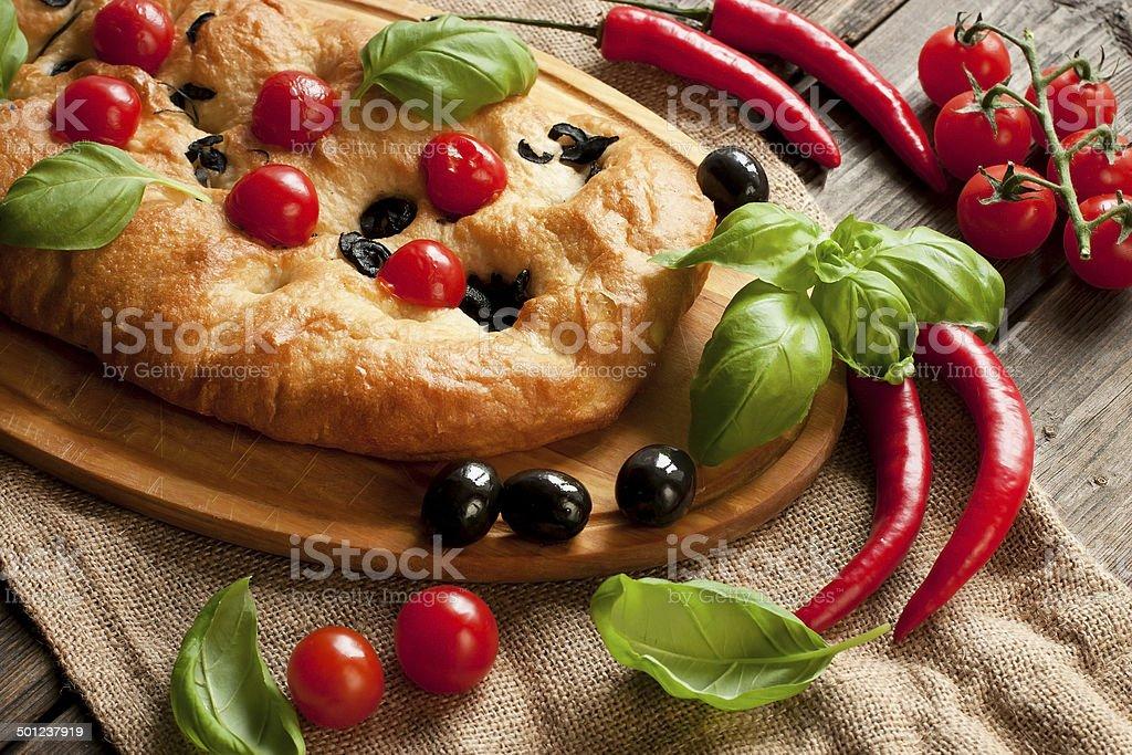 Fresh baked focaccia bread royalty-free stock photo