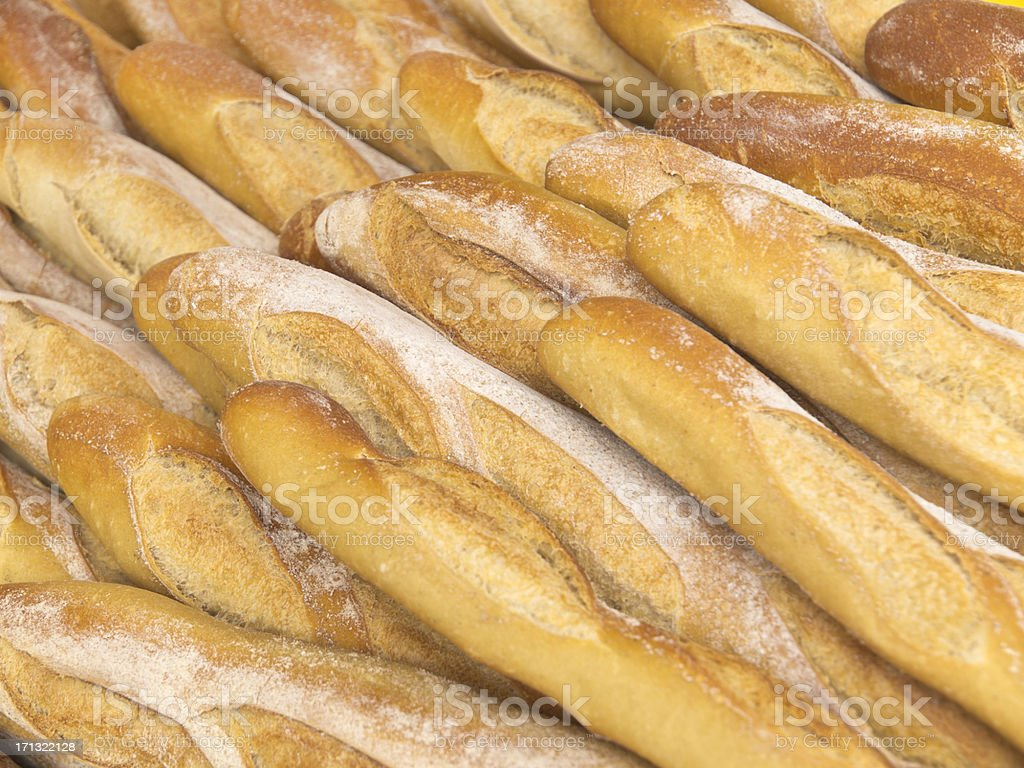 Fresh baked French Baguettes ready to be sold stock photo