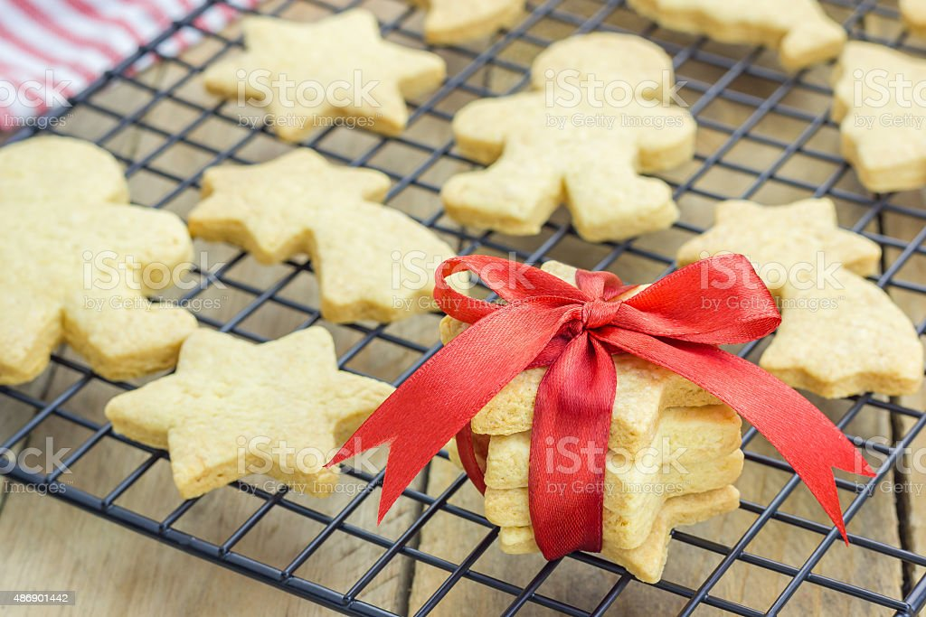 Fresh baked homemade shortbread cookies on a cooling rack stock photo