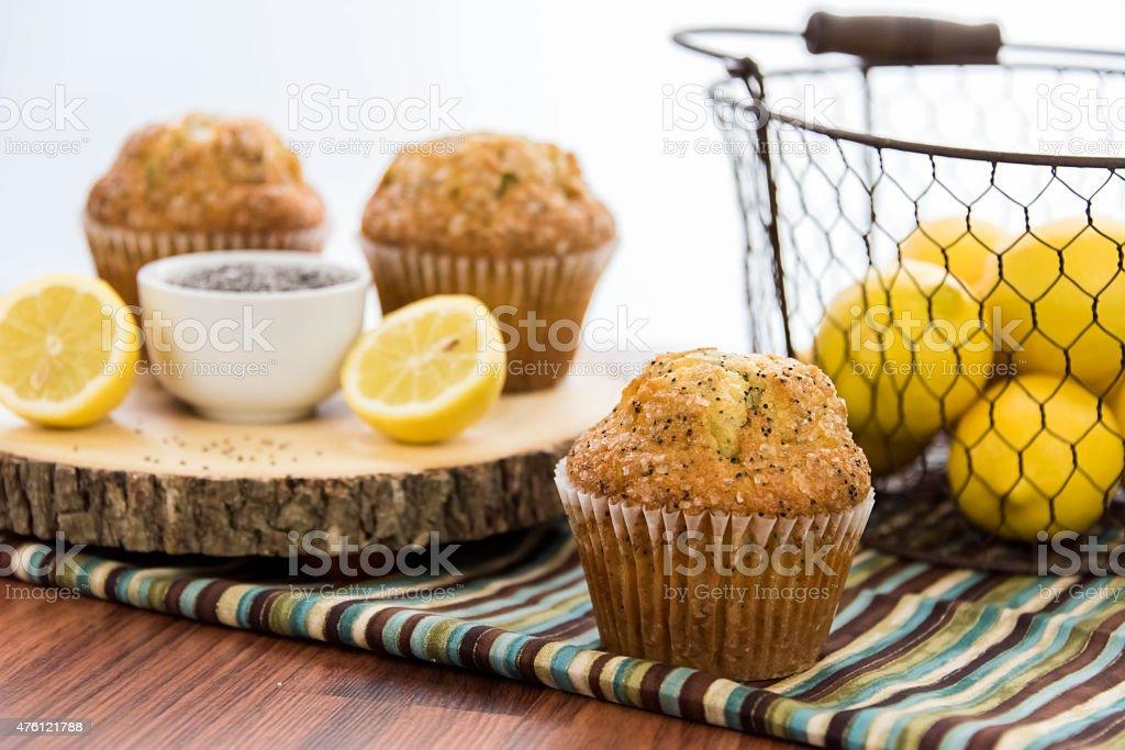 fresh baked lemon poppyseed muffins stock photo
