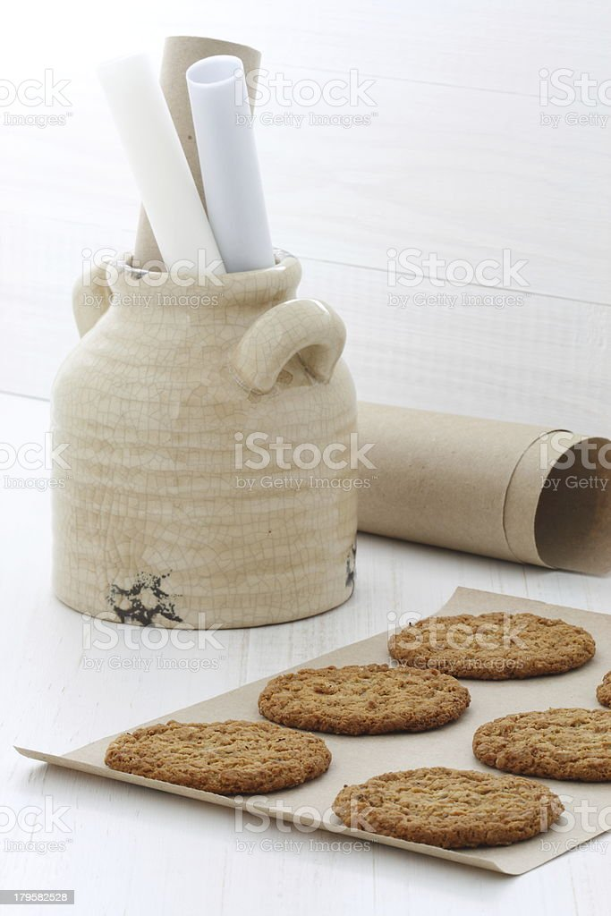Fresh baked oatmeal cookies royalty-free stock photo