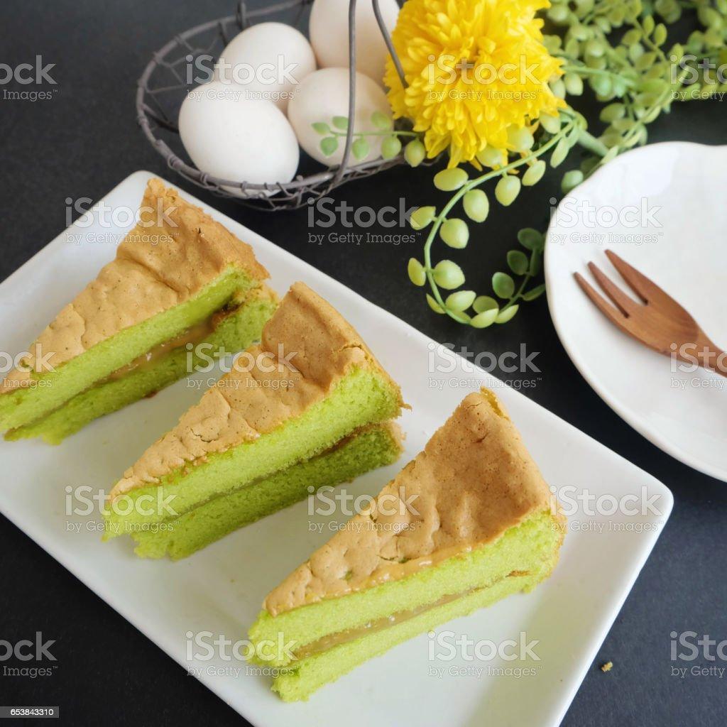 Fresh baked pandan sponge cakes stock photo