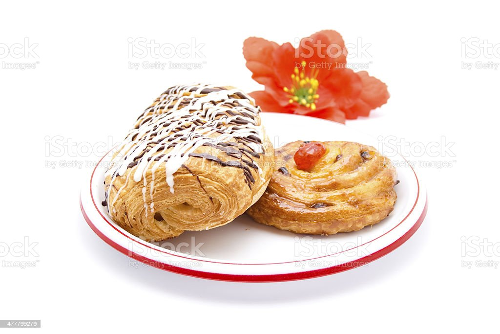 Fresh Baked Pastries on Plastic Plate stock photo