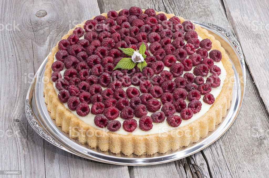 Fresh baked Raspberry Tart royalty-free stock photo
