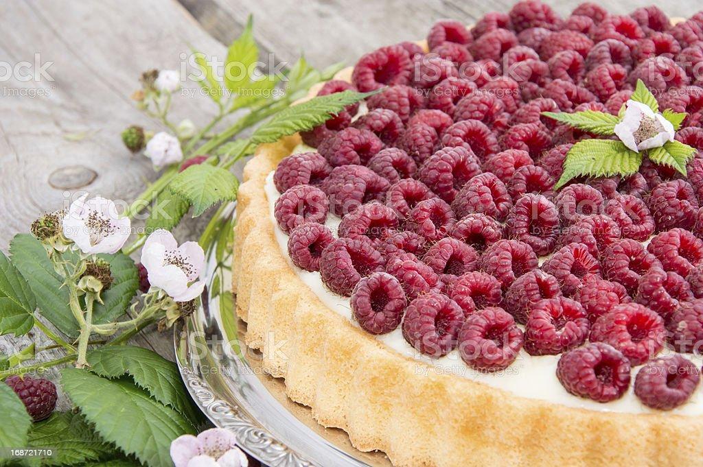 Fresh baked Raspberry Tart stock photo