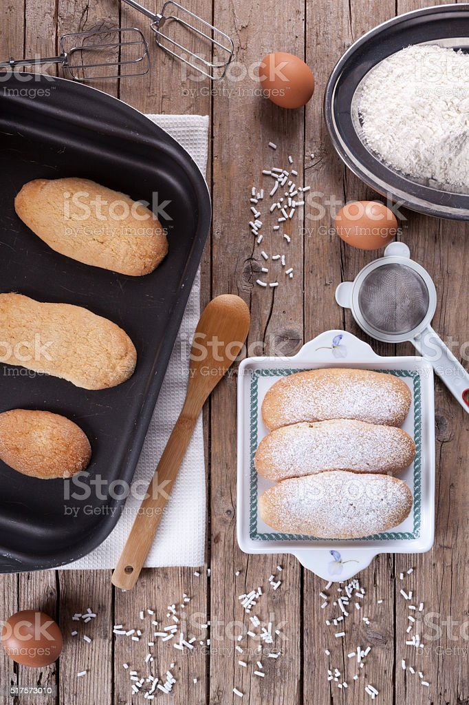 Fresh Baked Savoiardi Biscuits stock photo